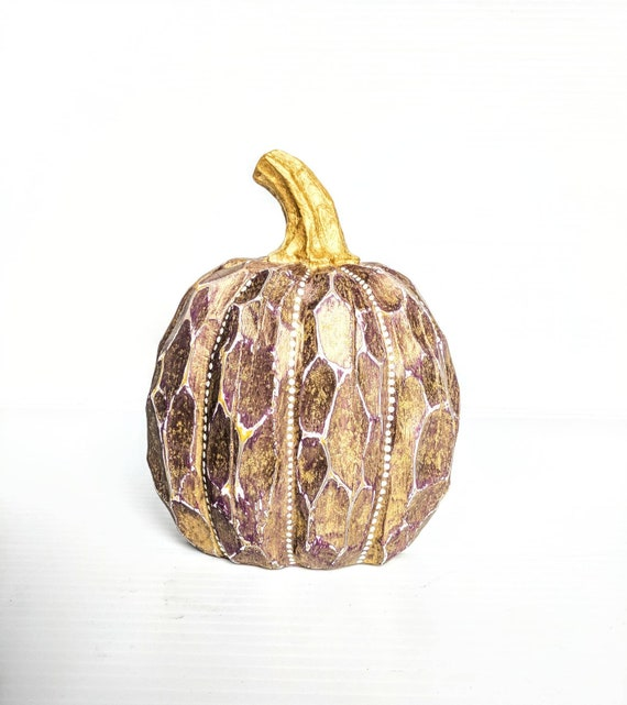 Pumpkin plum purple and gold with white dots pumpkin hand painted