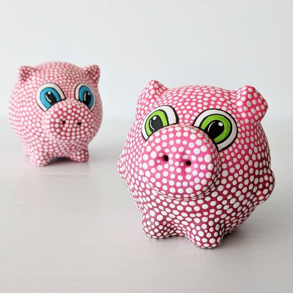 Salt and Pepper Piggy Salt and Pepper shakers Hand Painted Salt and Pepper Shakers Novelty salt and pepper Dot painting Pigs
