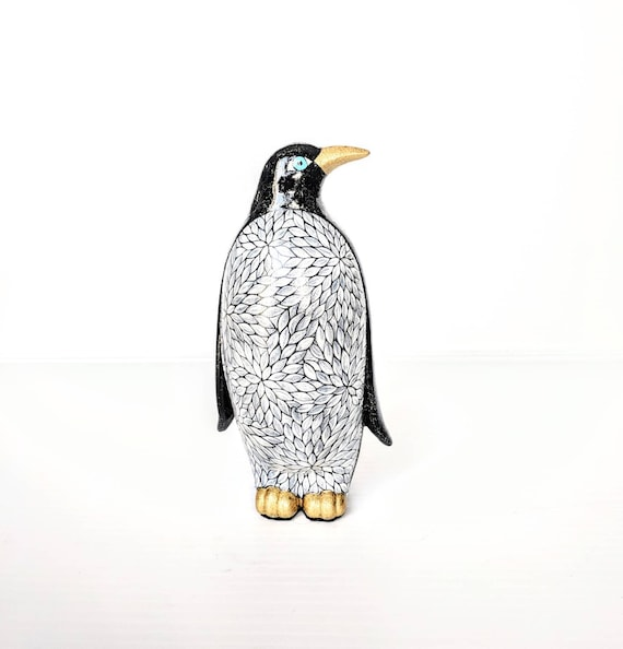 Penguin hand painted ceramic penguin black and white