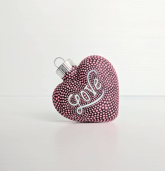 Love: hand painted glass heart ornament pink and white hand painted glass heart valentine hearts