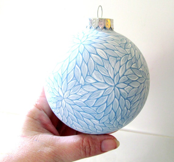 Winter Wonderland: Large Blue and White Painted Glass Ornament
