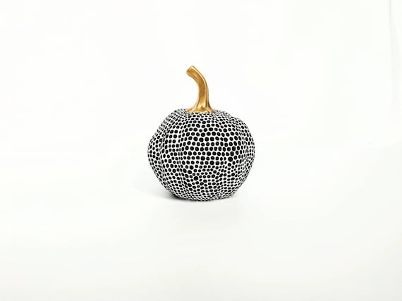 Painted pumpkin small painted ceramic pumpkin black and white