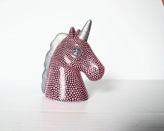 Pink Unicorn small unicorn head figurine.