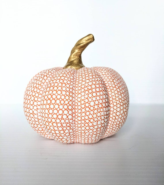Pumpkin Orange and white hand painted pumpkin