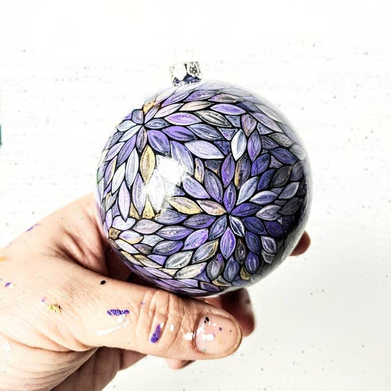 Purple Christmas ornament shatter proof hand painted ornament purple gold and white