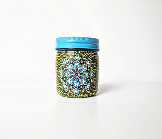 Yellow and blue Painted jar 8oz hand painted plastic jar