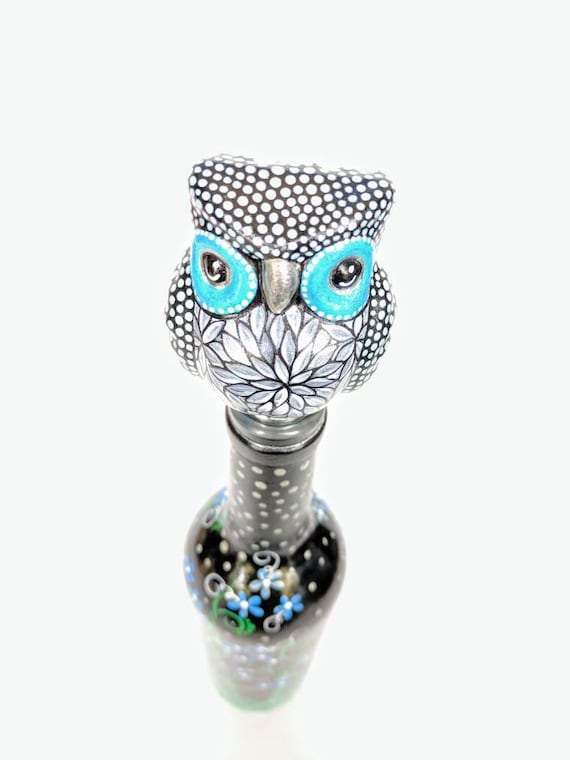Painted wine bottle with painted glass owl bottle topper Wine bottle with topper woodland creature