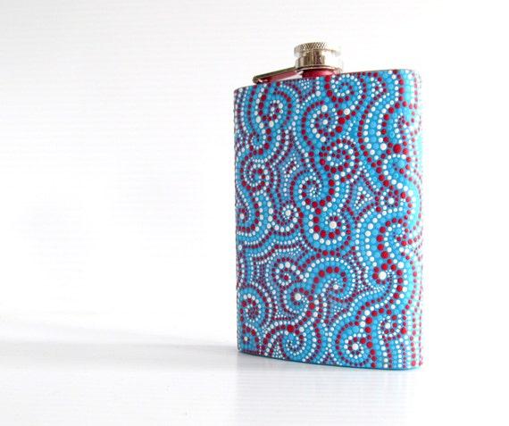 Stainless Steel Flask Hand painted eight 8 ounce flask Red white and blue dot painting ooak hip flask Groomsman gift