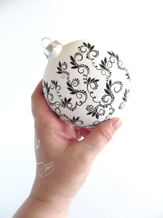 Black and White Hand Painted  Glass Christmas Ornament