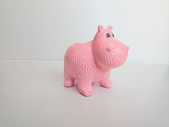 Hippopotamus planter hand painted ceramic hippo succulent planter electric pink and white Hippo