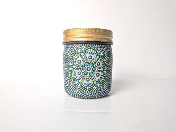 Painted jar 8oz hand painted plastic jar