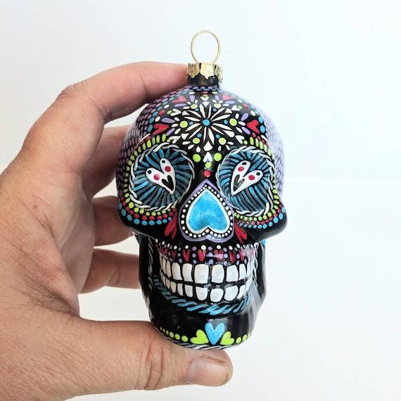 Skull ornament hand painted glass skull ornament sugar skull colorful skull art