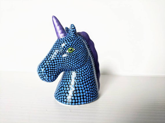 Blue and purple Unicorn small unicorn head figurine.
