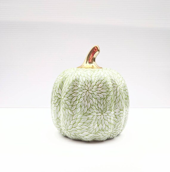 Pumpkin: green and white ceramic pumpkin hand painted pumpkins