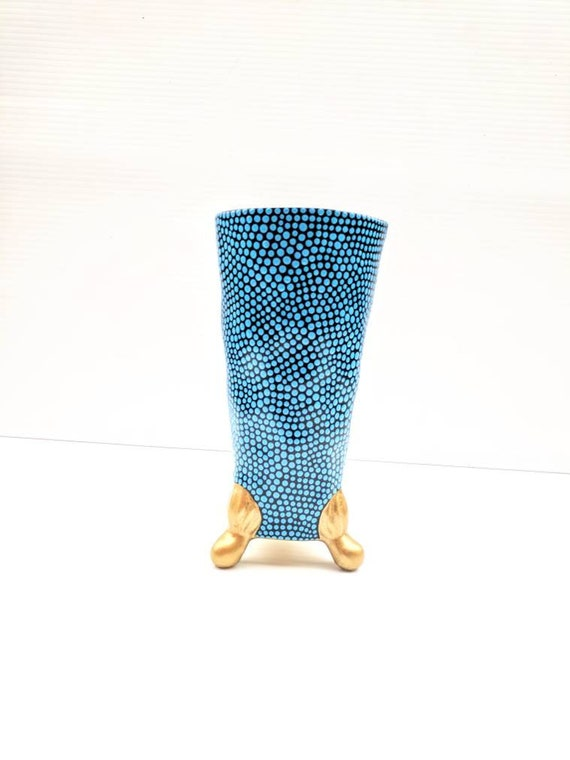 Vase: Black blue and gold  vase small vase with  claw feet