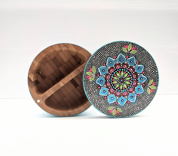 Salt cellar: large hand painted bamboo salt cellar