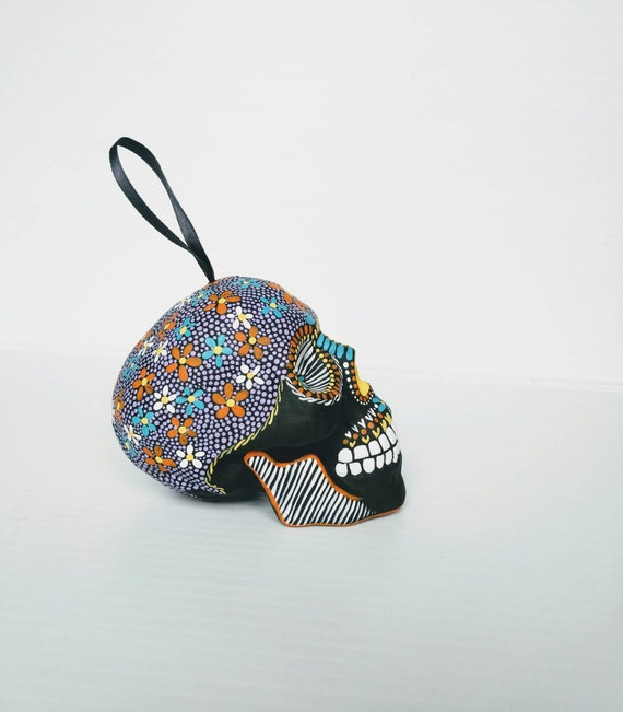 Skull ornament: hand painted shatterproof skull ornament sugar skull