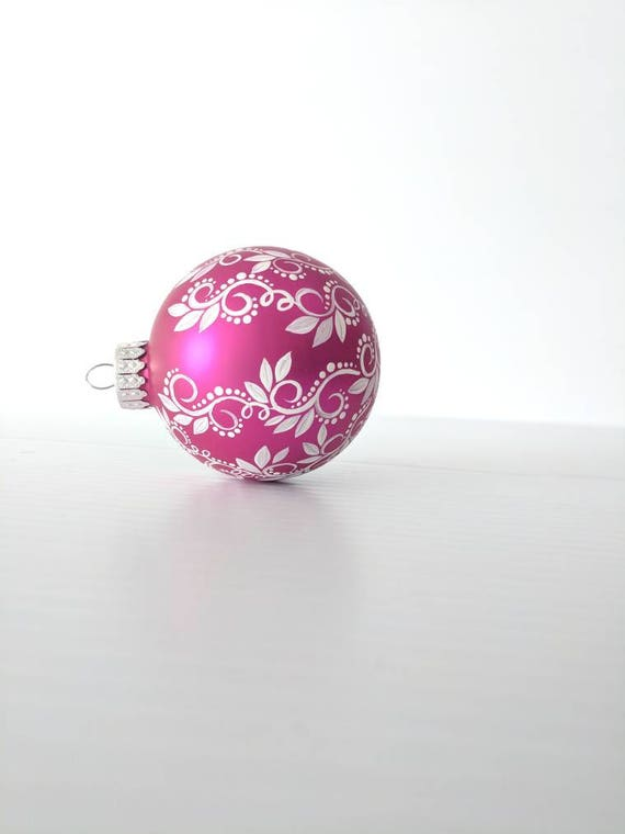 Hand Painted Ornament: magenta pink with white swirls dots and leaves Christmas Ornament magenta pink glass ornaments