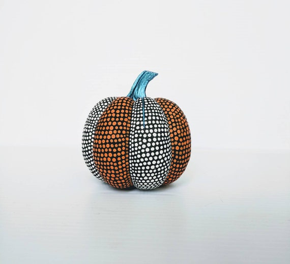 Pumpkin hand painted pumpkin orange white and metallic blue resin pumpkin small pumpkin gourd