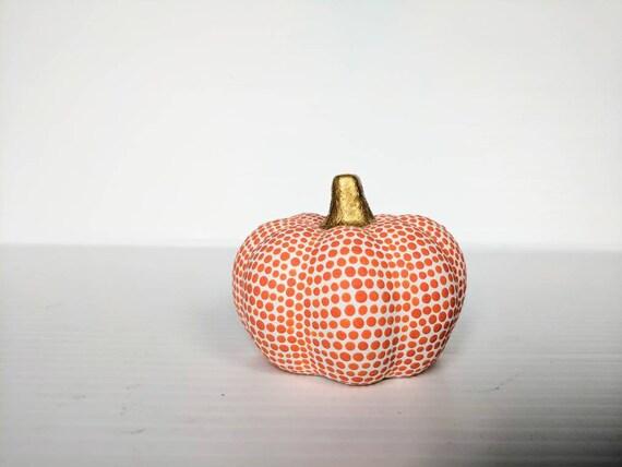 Pumpkin Orange and White small mini pumpkin ceramic pumpkins
