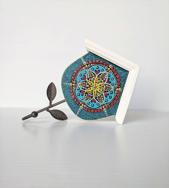 Wall hook: decorative wall hook hand painted mandala wall hook