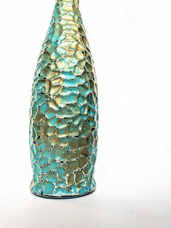 Water bottle Turquoise and gold glass bottle hand painted water bottle 34 oz. glacier bottle with wire bail lid