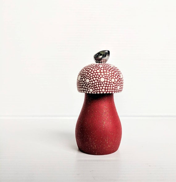 Pepper Mill hand painted Pepper Mill red and white mushroom