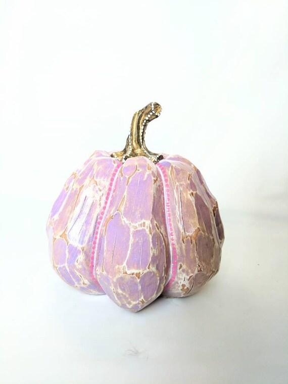 Pumpkin hand painted Resin Pumpkin purple and gold pumpkin painted pumpkins