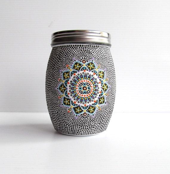 Glass jar and lid: Hand painted glass jar Mason jar mandala