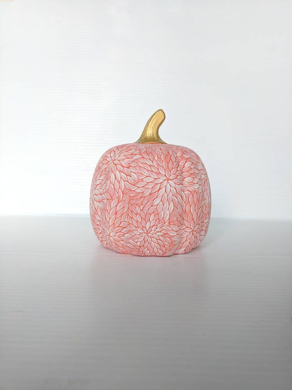 Pumpkin: Orange and white ceramic pumpkin hand painted pumpkins
