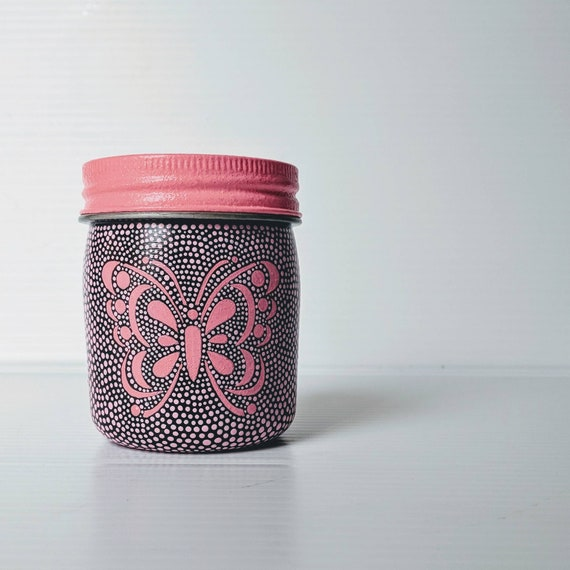 Butterfly Painted jar 8oz hand painted plastic jar pink Butterfly
