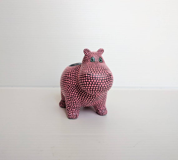 Hippopotamus planter hand painted ceramic hippo succulent planter pink and gray Hippo