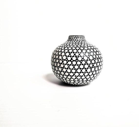 Bud vase hand painted ceramic bud vase black and white dots