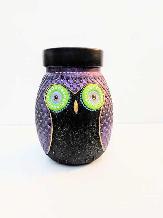 Owl Painted jar hand painted glass owl jars large glass jar