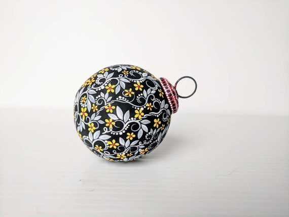 Flowers Hand painted glass ornament artsy ornament black white and yellow Christmas ornament