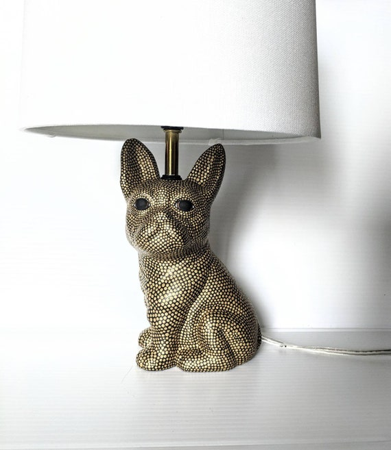 Dog lamp: hand painted ceramic dog lamp gold and black small lamp.