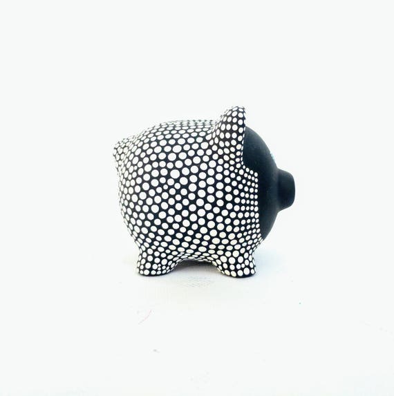 Black and White Piggy Bank: Hand painted Piggy Dot painting