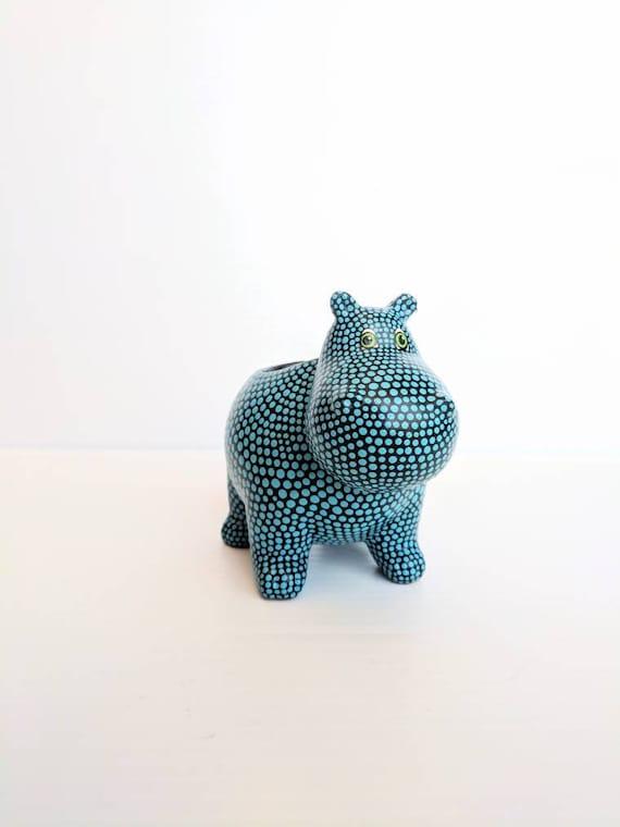 Hippopotamus planter hand painted ceramic hippo succulent planter blue Hippo