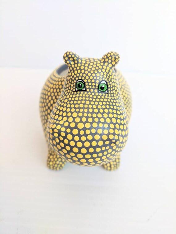 Hippopotamus planter hand painted ceramic hippo succulent planter yellow Hippo