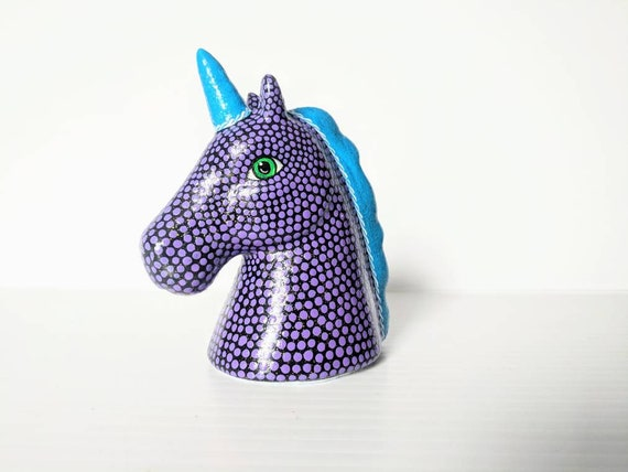Purple and blue Unicorn small unicorn head figurine.