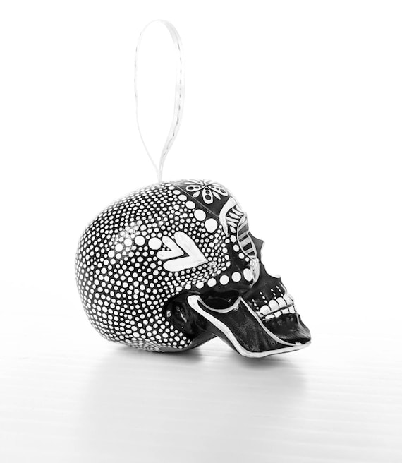 Skull ornament hand painted shatterproof Ornament sugar skull day of the dead black and white
