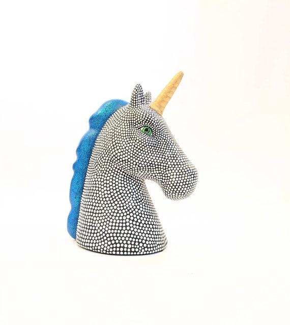 Hand painted Unicorn coin bank ceramic coin bank piggy bank blue mane black and white unicorn ceramic piggy bank