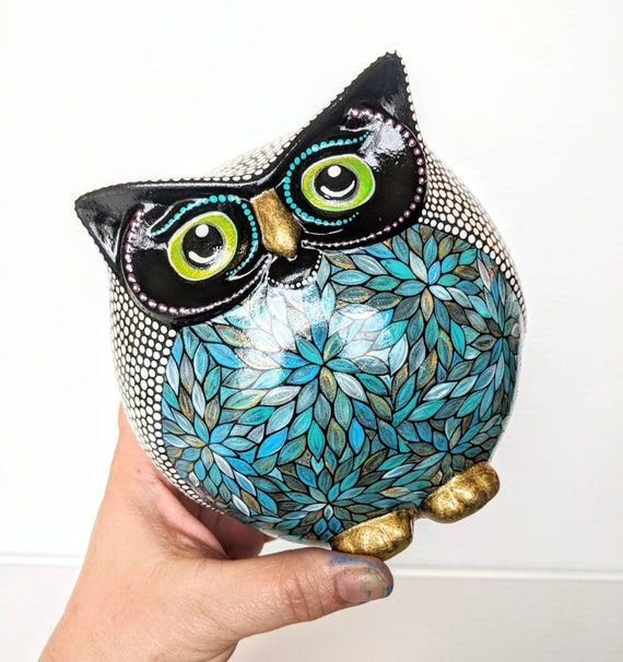 OWL Colorful Owl Figurine Hand painted Owl Round Happy Owl Figurine Owl Lover art ceramic owl blues and white
