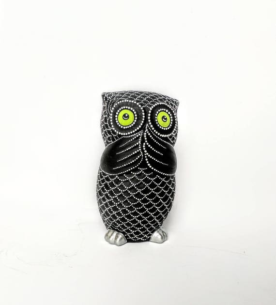 Owl Bank Hand painted Owl coin bank Piggy Bank black and white