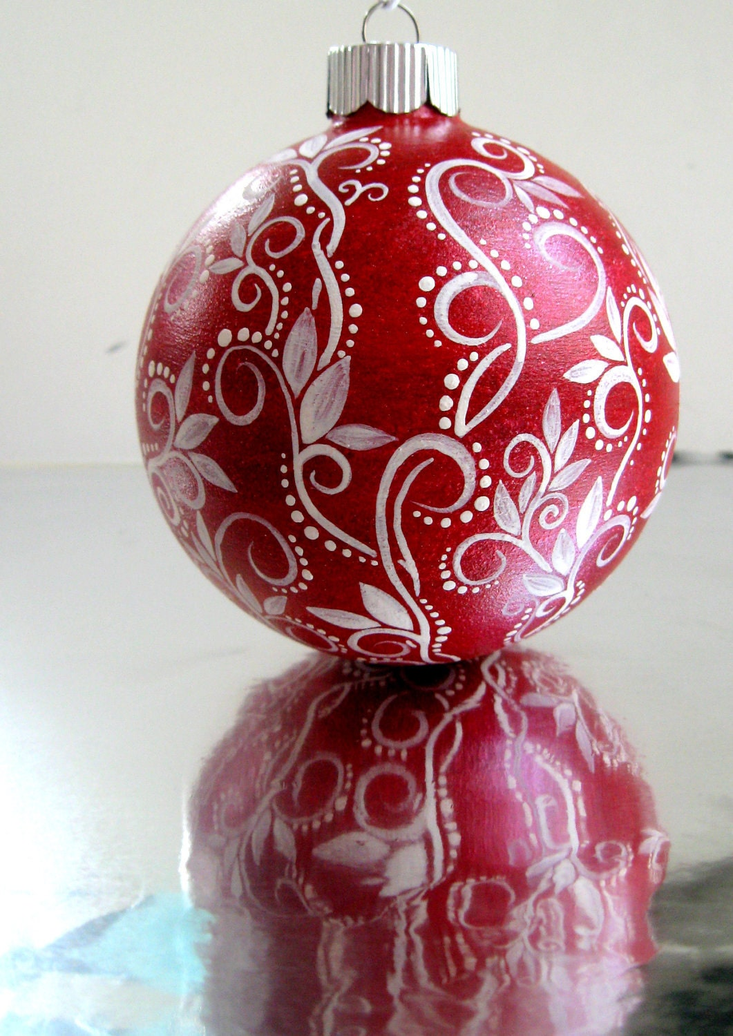 Red And White Christmas Ornament Hand Painted Glass