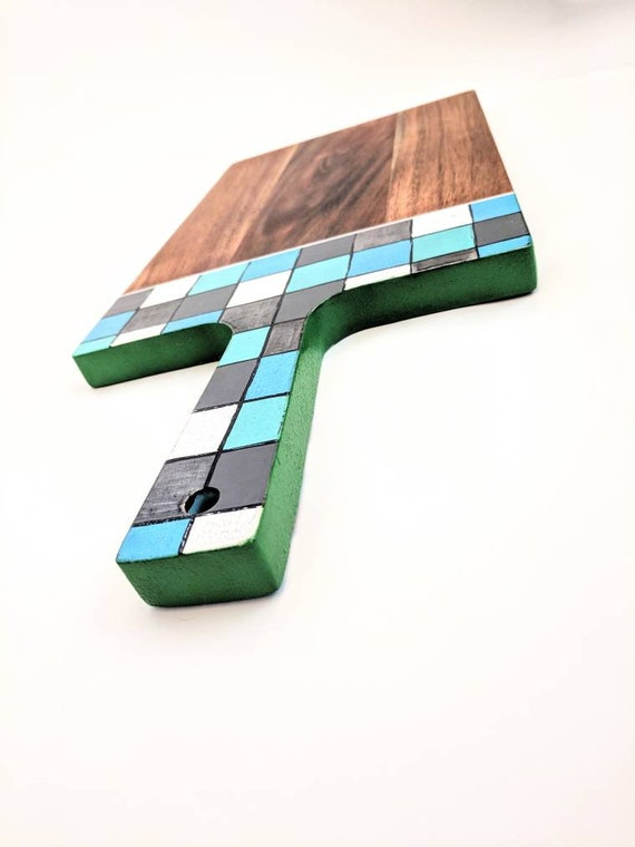 Serving or cutting board hand painted handle