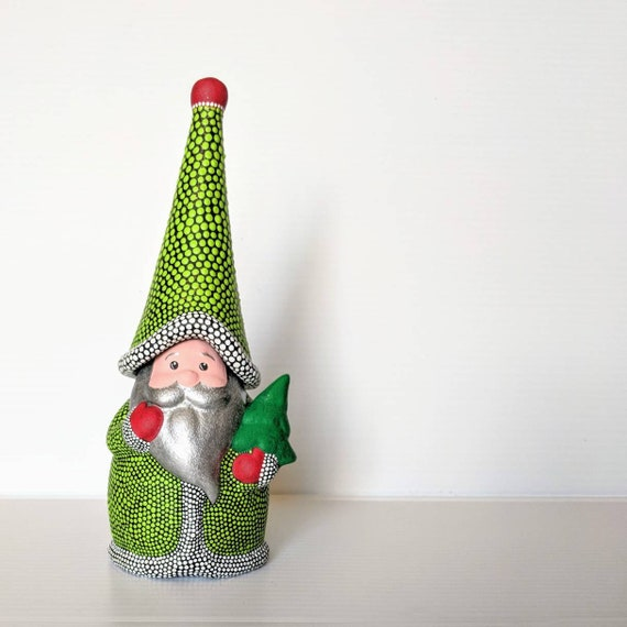 Gnome: Hand painted ceramic Santa Gnome