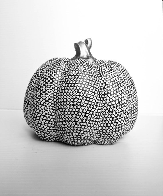 Pumpkin: Hand Painted resin Pumpkin Black and White Pumpkin dot art