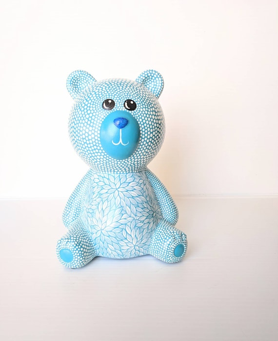 Teddy Bear coin bank Blue and white bear hand painted coin bank piggy bank