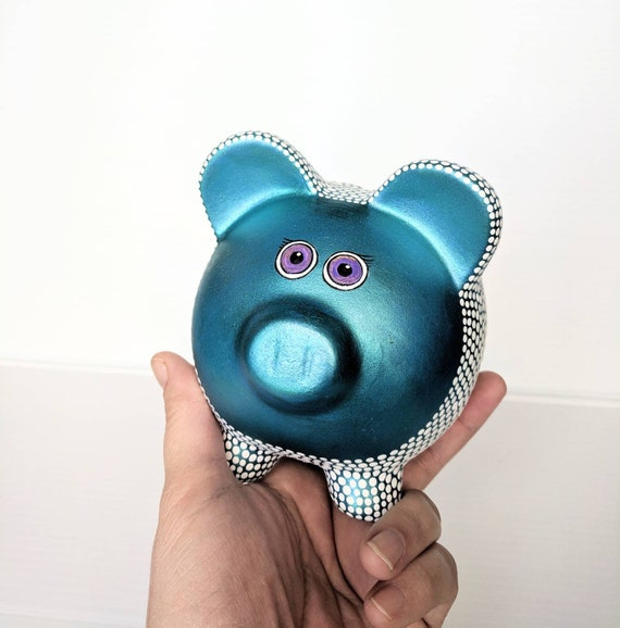 Piggy bank: metallic teal and white piggy bank